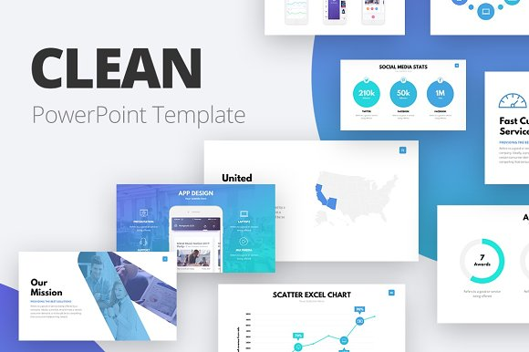 Clean powerpoint template presentation templates creative market toneelgroepblik Images