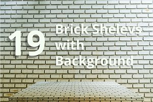 15 Brick shelves with background