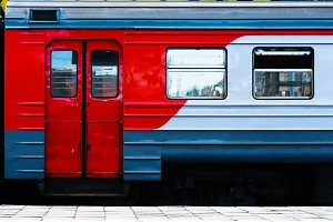 Horizontal vibrant Russian train carriage detail background back