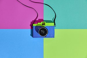 Fashion Film Camera. Hot Summer Vibes. Pop Art