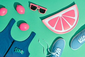 Fashion Summer Hipster Set. Surreal, Minimal Style