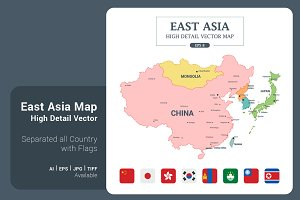EastAsia Map Color Separated Country