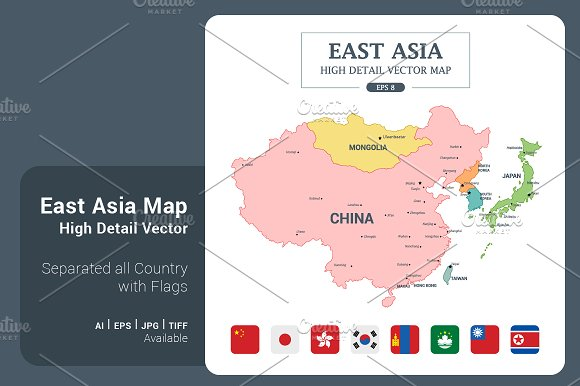 EastAsia Map Color Separated Country in Illustrations