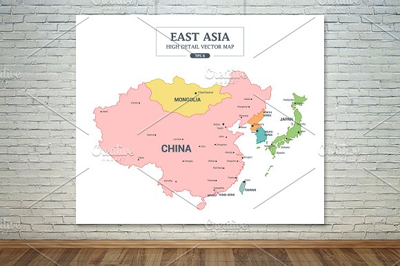 EastAsia Map Color Separated Country in Illustrations - product preview 3