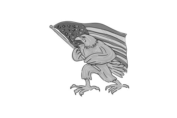 American Eagle Waving USA Flag
