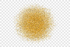 Golden circle sparkles on transparent background