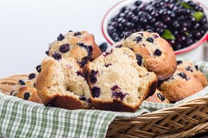 Split huckleberry muffin