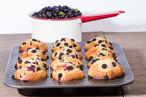 Metal pan of berries and muffins