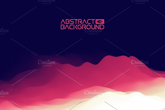 3D Landscape Background Purple Gradient Abstract Vector Illustration.Computer Art Design Template Landscape With Mountain Peaks