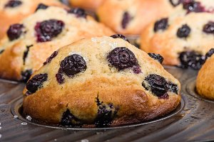 Fresh berry muffins in the pan