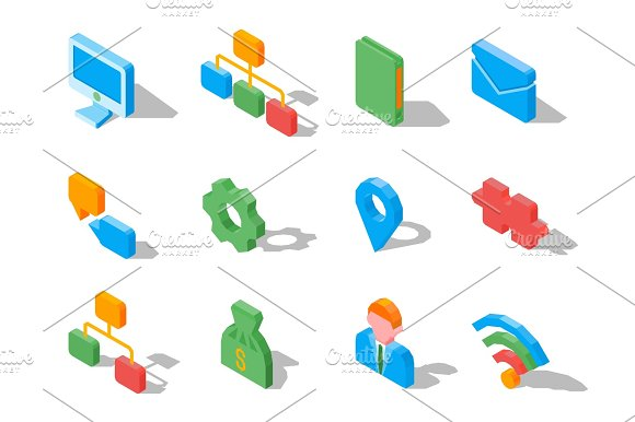 Set Of Business 3D Icons Vector Illustration Isolated On White