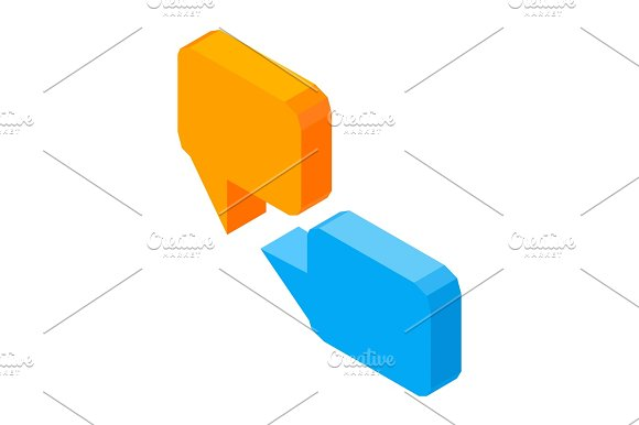 Message 3D Business Icons Vector Colorful Illustration Isolated On White