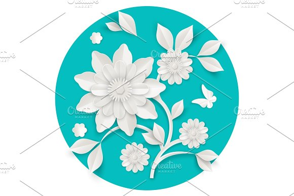 Graceful Stem With Charming Blossom Made Of Paper