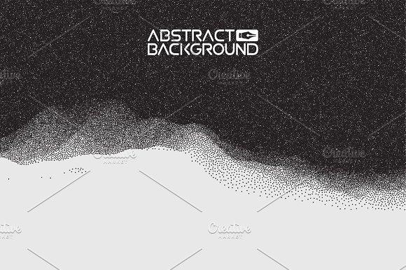 Stipple Gradient Texture Half Tone Dot Vector Art 3D Landscape Abstract Background Gradient Vector Illustration Computer Art Design Template Landscape With Mountain Peaks