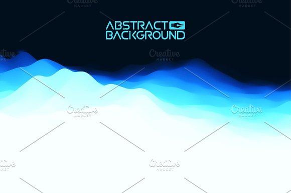 3D Landscape Abstract Blue Background Blue Gradient Vector Illustration.Computer Art Design Template Landscape With Mountain Peaks