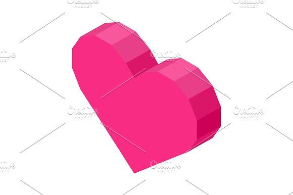 Bright Pink Angular Heart Computer Icon Isolated Illustration