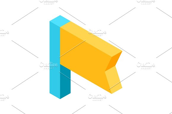 Yellow Flag Icon That Signifies Bookmark Isolated Illustration