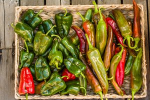 Basket of green hot peppers