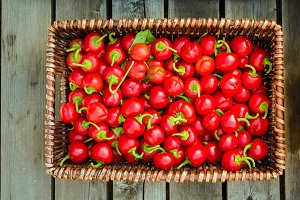 Basket of red cherry peppers
