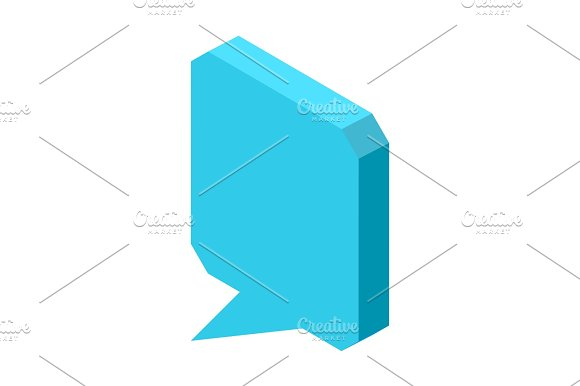 Empty Square Blue Chat Cloud Icon Isolated Illustration