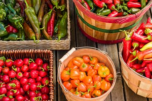 Peppers in wicker baskets
