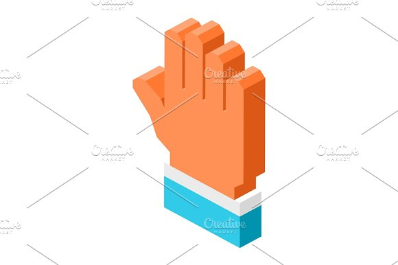 Open Human Palm Icon Isolated 3D Cartoon Illustration