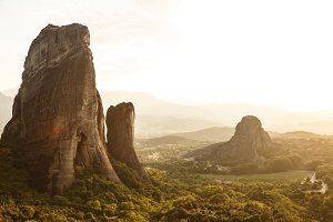 Breathtaking view of rocks of Meteora at sunset, Greece.