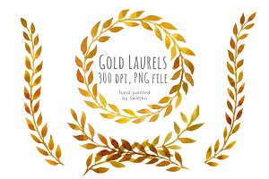 Watercolor Laurels, Gold