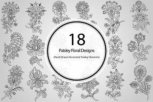 18 Paisley Floral Designs (Vector)