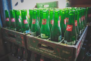 Stacked Retro Glass Bottles