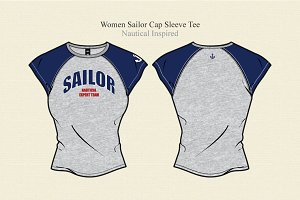 Women Sailor Cap Sleeve Tee
