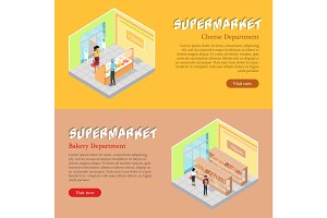 Supermarket Departments Isometric Web Banners Set