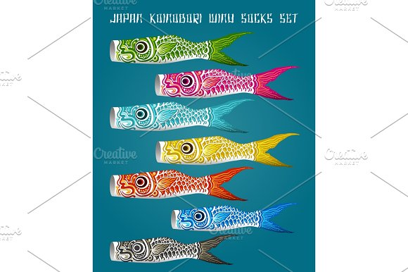 Japan Fish Koinobori Flag Set
