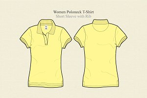 Women Poloneck T-shirt Vector
