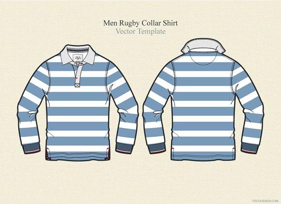Men rugby collar shirt vector illustrations creative for Collar shirt design template