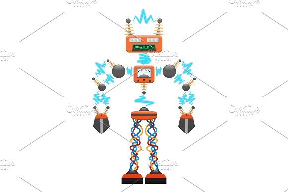 Big Electric Robot With Detectors Illustration