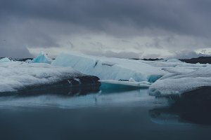 Floating Iceberg on Glacier Lake