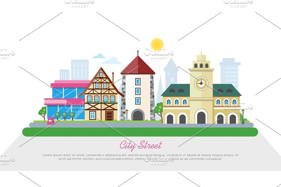 City Street In Sunny Day Flat Vector Banner