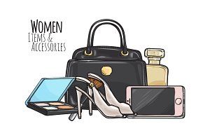 Women Items and Accessories. Dark Female Objects