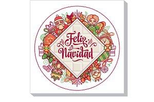 Feliz navidad. Xmas card on Spanish
