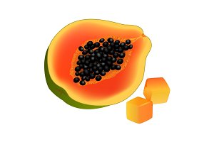 Sliced on Half and Diced Papaya Realistic Vector
