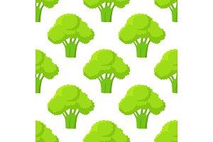 Broccoli Green Head or Flower Bud Seamless Pattern