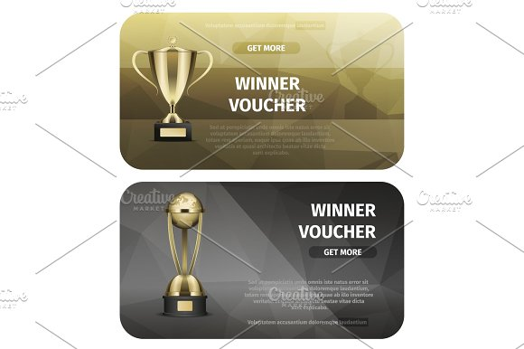 Winner Voucher with Gold Trophy for Victory Vector
