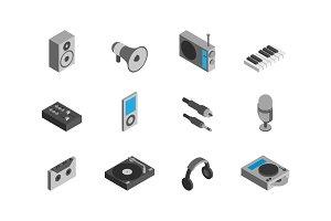 minimalistic isometric audio icons