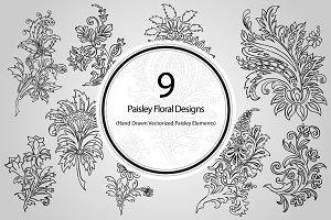 9 Paisley Floral Designs (Vector)