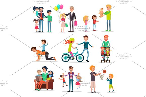 Fathers Have Fun With Children Illustrations Set