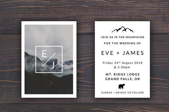 Mountain Wedding Invitation Template