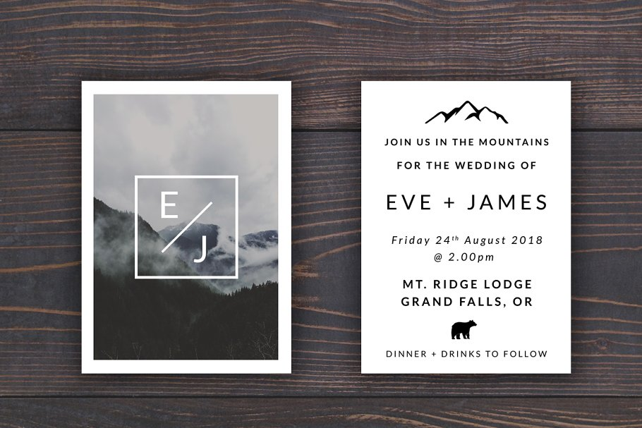 Mountain Wedding Invitation Template | Creative Wedding Templates ...