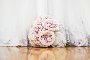 Wedding bouquet with wedding dress
