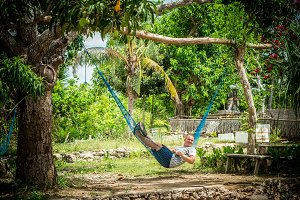 Portrait of happy young caucasian man in hammock. Tropical island Bali, Indonesia, Asia. Sunny day, many green plants and palms.